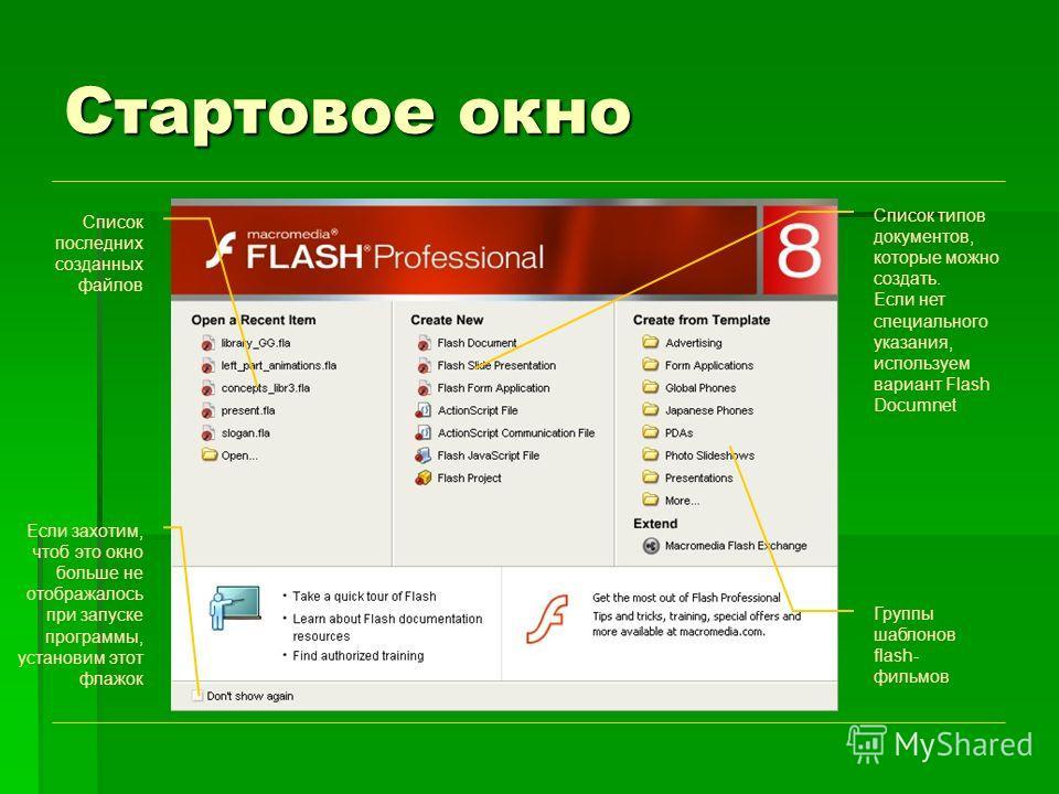Стартовое окно Список последних созданных файлов Группы шаблонов flash- фильмов Список типов документов, которые можно создать. Если нет специального указания, используем вариант Flash Documnet Если захотим, чтоб это окно больше не отображалось при з