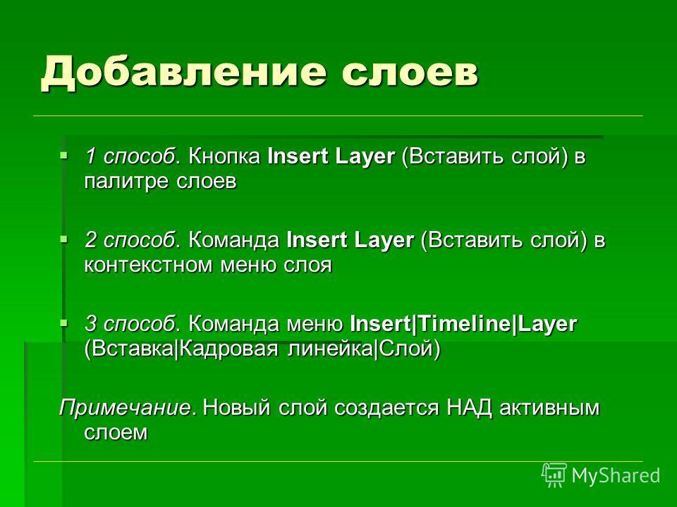Добавление слоев 1 способ. Кнопка Insert Layer (Вставить слой) в палитре слоев 1 способ. Кнопка Insert Layer (Вставить слой) в палитре слоев 2 способ. Команда Insert Layer (Вставить слой) в контекстном меню слоя 2 способ. Команда Insert Layer (Встави