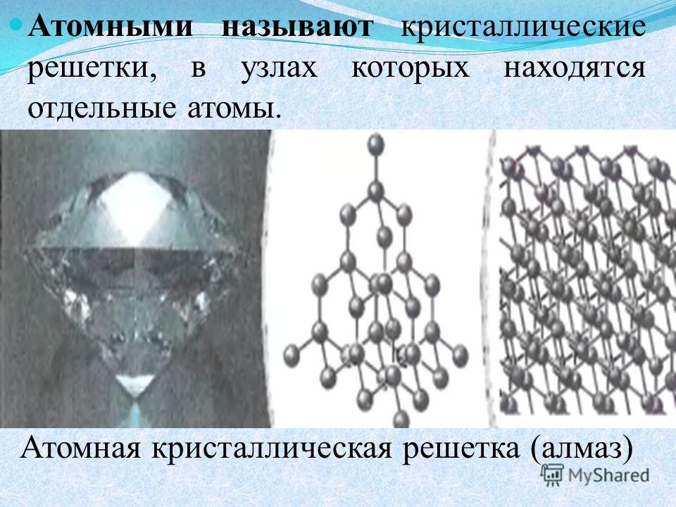 Атомными называют кристаллические решетки, в узлах которых находятся отдельные атомы. Атомная кристаллическая решетка (алмаз)