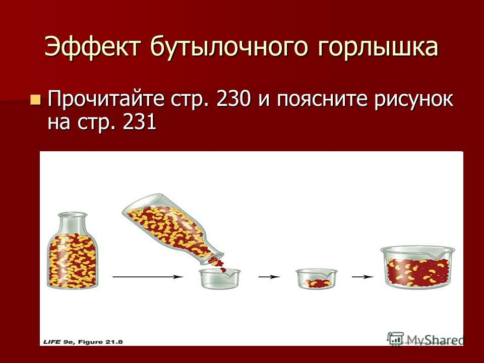 Эффект бутылочного горлышка Прочитайте стр. 230 и поясните рисунок на стр. 231 Прочитайте стр. 230 и поясните рисунок на стр. 231