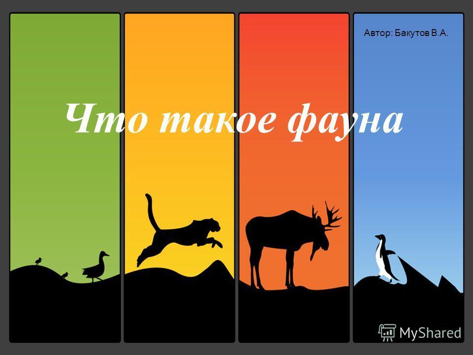 Что такое фауна Автор: Бакутов В.А.