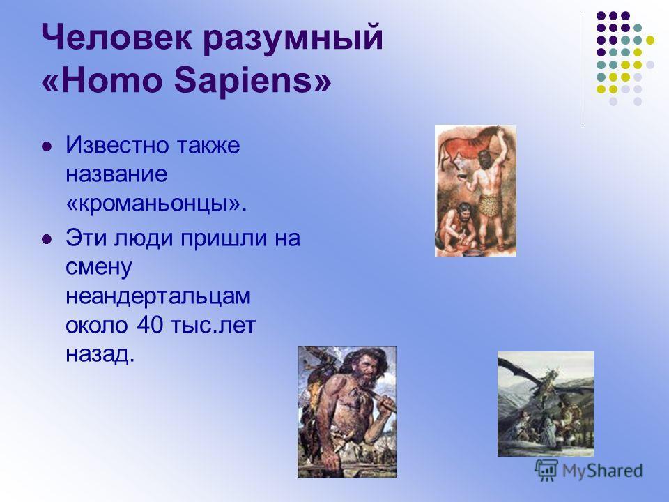 Человек разумный «Homo Sapiens» Известно также название «кроманьонцы». Эти люди пришли на смену неандертальцам около 40 тыс.лет назад.