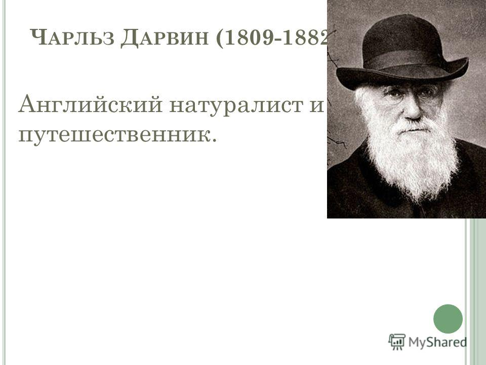 Ч АРЛЬЗ Д АРВИН (1809-1882) Английский натуралист и путешественник.