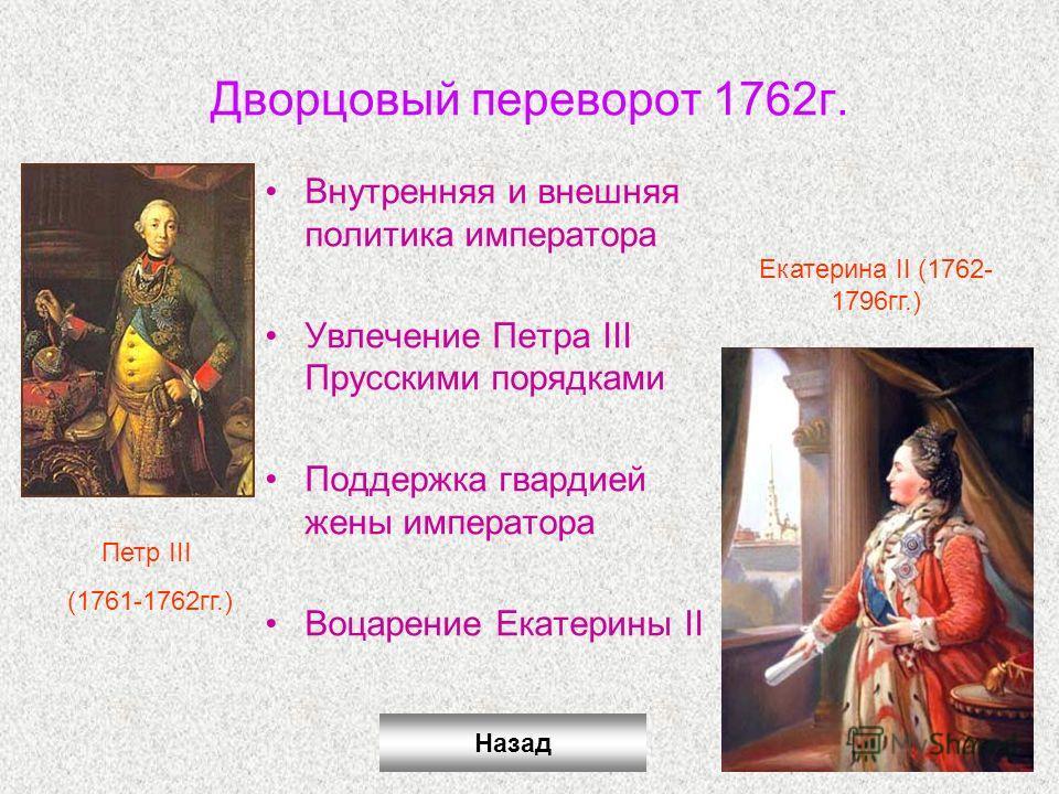 Дворцовый переворот 1762г. Внутренняя и внешняя политика императора Увлечение Петра III Прусскими порядками Поддержка гвардией жены императора Воцарение Екатерины II Петр III (1761-1762гг.) Екатерина II (1762- 1796гг.) Назад