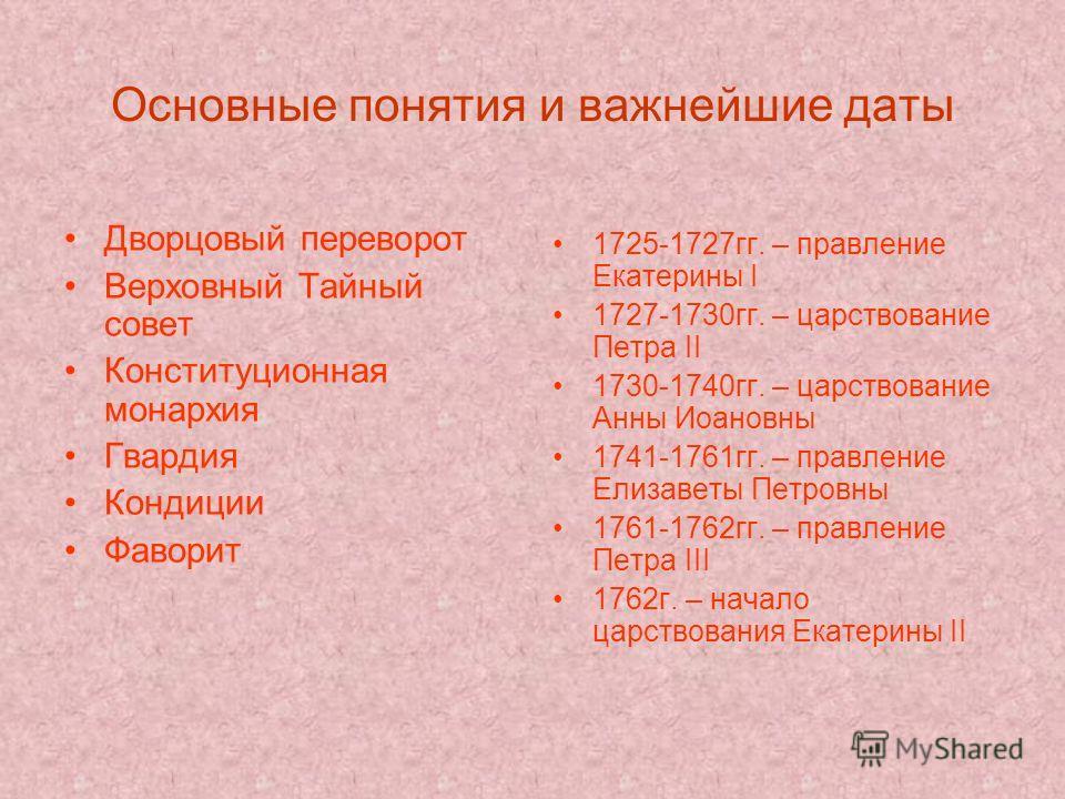 Основные понятия и важнейшие даты Дворцовый переворот Верховный Тайный совет Конституционная монархия Гвардия Кондиции Фаворит 1725-1727гг. – правление Екатерины I 1727-1730гг. – царствование Петра II 1730-1740гг. – царствование Анны Иоановны 1741-17