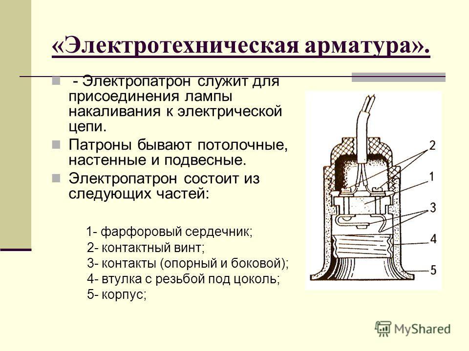 «Электротехническая арматура». - Электропатрон служит для присоединения лампы накаливания к электрической цепи. Патроны бывают потолочные, настенные и подвесные. Электропатрон состоит из следующих частей: 1- фарфоровый сердечник; 2- контактный винт;