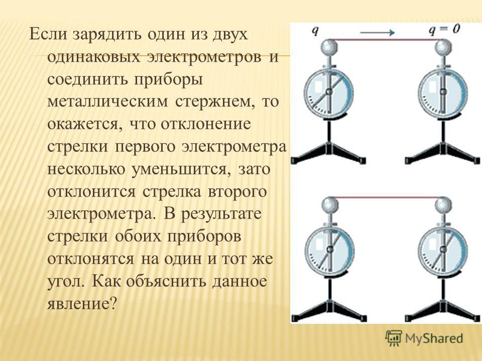 Если зарядить один из двух одинаковых электрометров и соединить приборы металлическим стержнем, то окажется, что отклонение стрелки первого электрометра несколько уменьшится, зато отклонится стрелка второго электрометра. В результате стрелки обоих пр