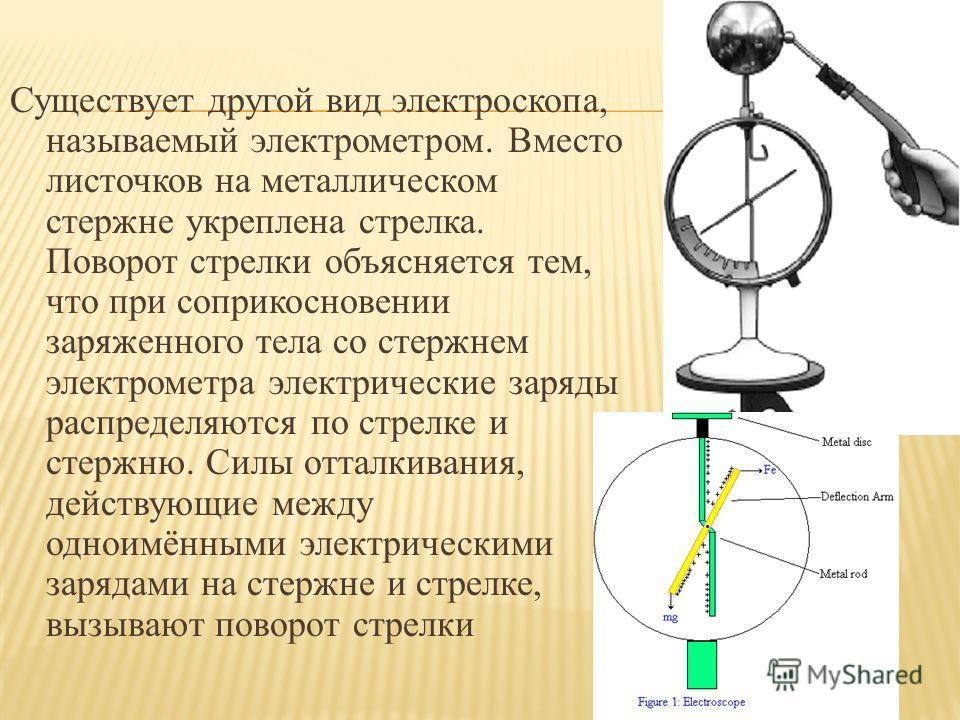 Существует другой вид электроскопа, называемый электрометром. Вместо листочков на металлическом стержне укреплена стрелка. Поворот стрелки объясняется тем, что при соприкосновении заряженного тела со стержнем электрометра электрические заряды распред