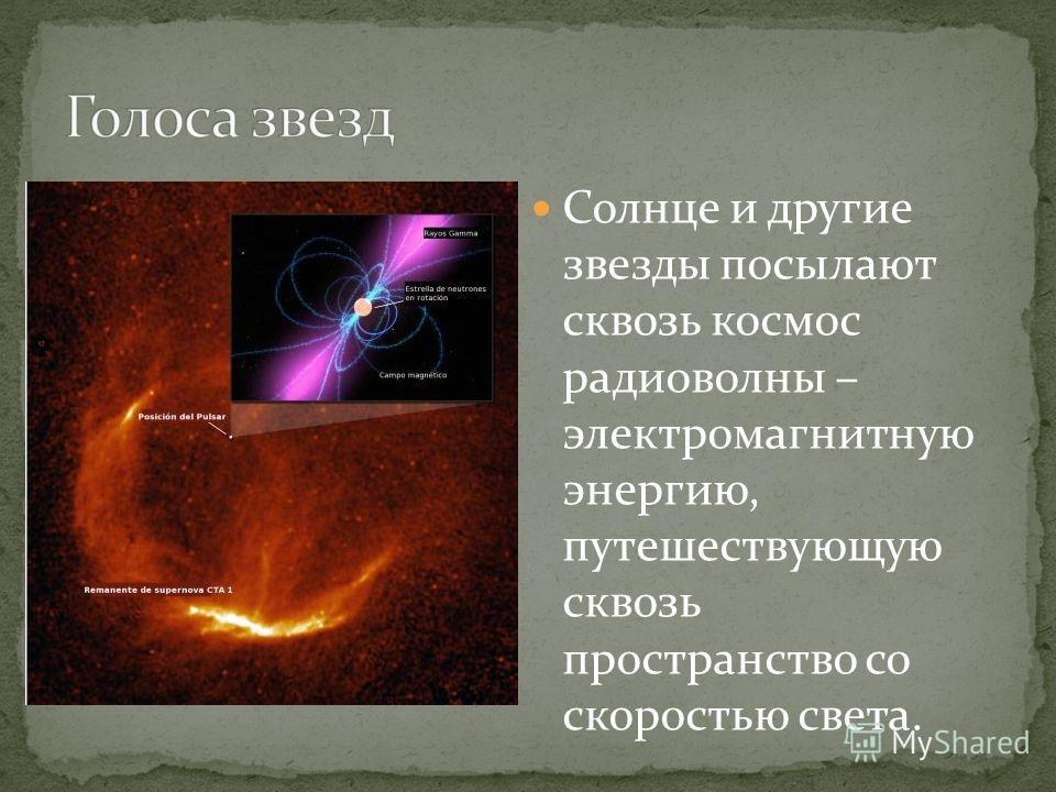 Солнце и другие звезды посылают сквозь космос радиоволны – электромагнитную энергию, путешествующую сквозь пространство со скоростью света.