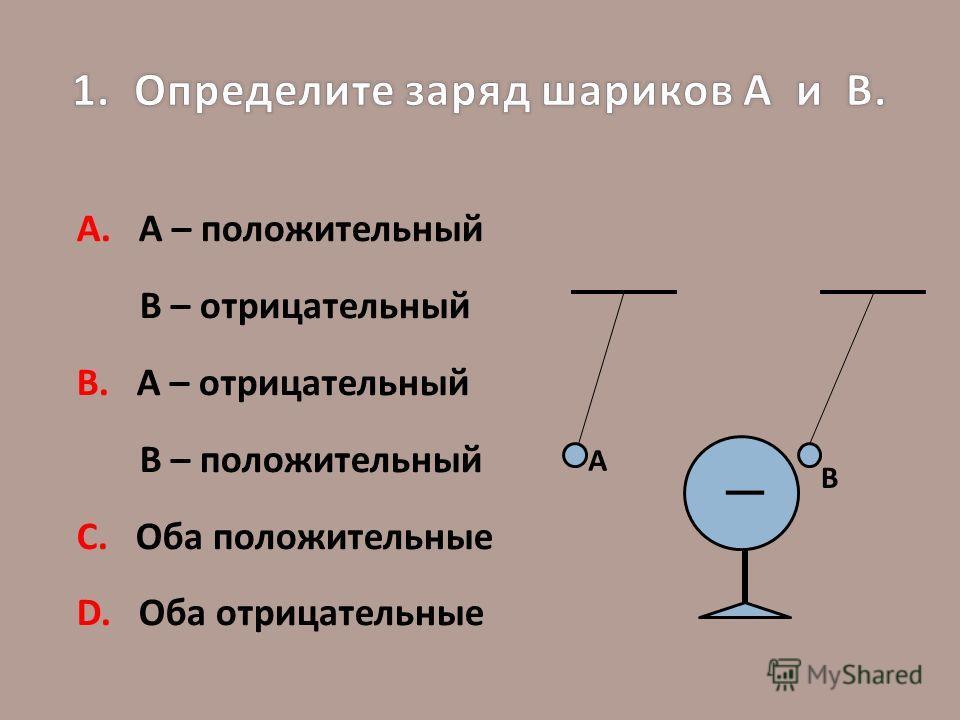 А. А – положительный В – отрицательный В. А – отрицательный В – положительный С. Оба положительные D. Оба отрицательные А В