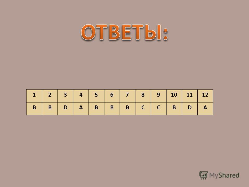 123456789101112 ВВDABBBCCBDA