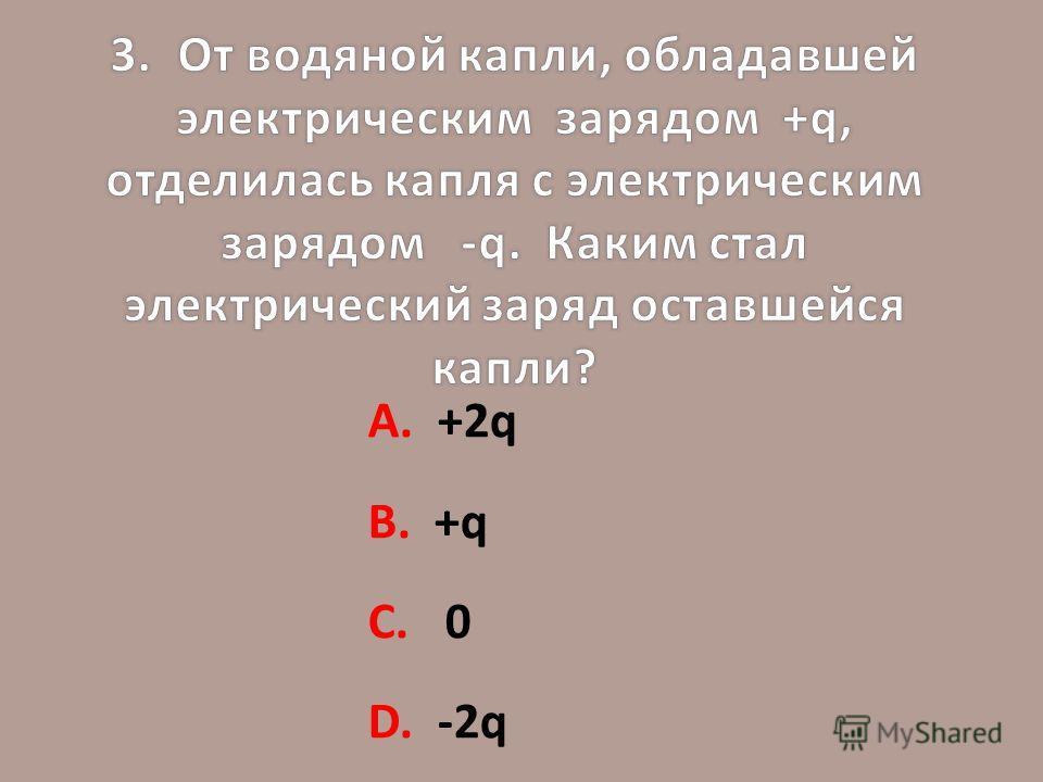 А. +2q В. +q С. 0 D. -2q
