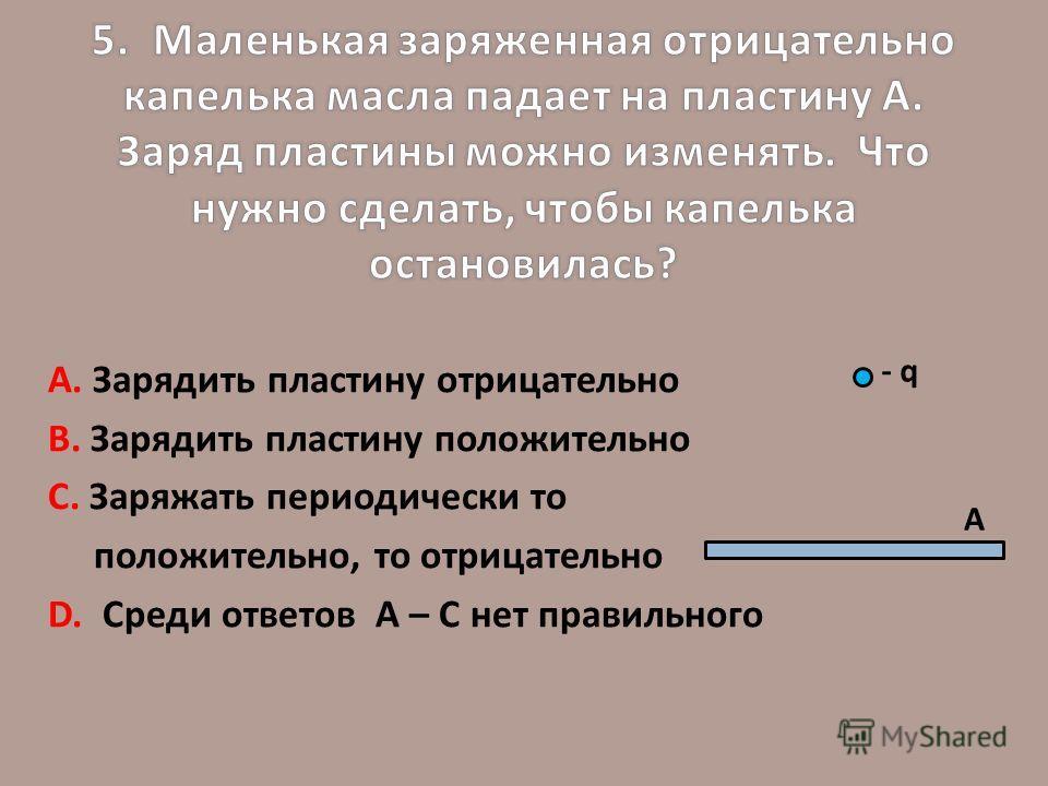 А. Зарядить пластину отрицательно В. Зарядить пластину положительно С. Заряжать периодически то положительно, то отрицательно D. Среди ответов А – С нет правильного А - q