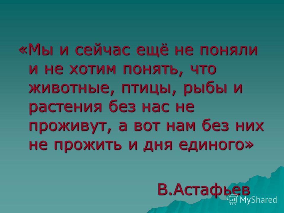 «Мы и сейчас ещё не поняли и не хотим понять, что животные, птицы, рыбы и растения без нас не проживут, а вот нам без них не прожить и дня единого» В.Астафьев В.Астафьев