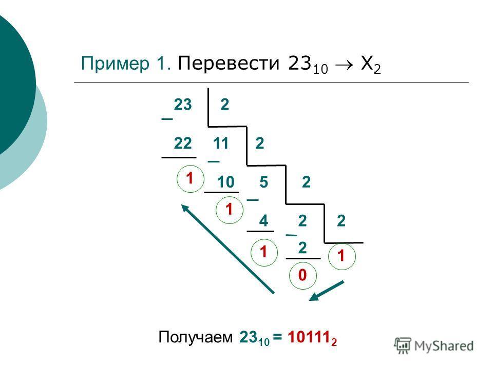 232 22 1 112 10 1 52 24 1 2 2 0 1 Получаем 23 10 = 10111 2 Пример 1. Перевести 23 10 Х 2