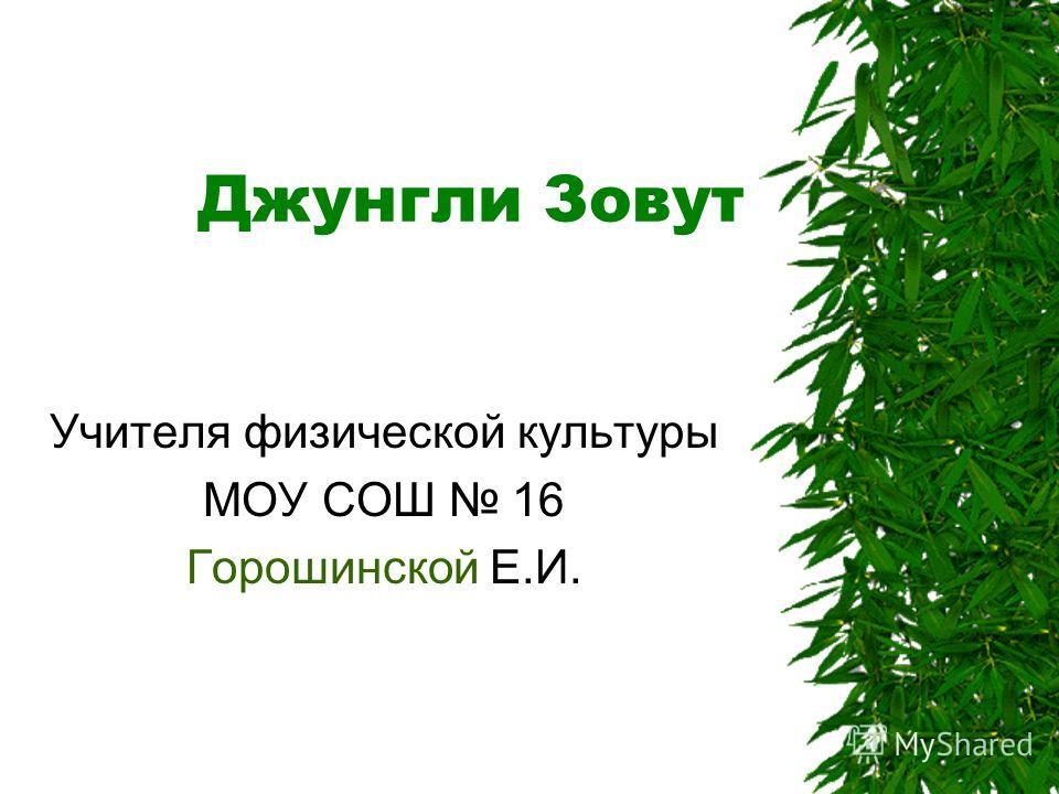 Джунгли Зовут Учителя физической культуры МОУ СОШ 16 Горошинской Е.И.
