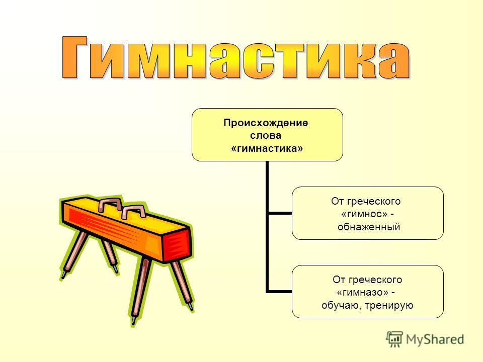 Происхождение слова «гимнастика» От греческого «гимнос» - обнаженный От греческого «гимназо» - обучаю, тренирую