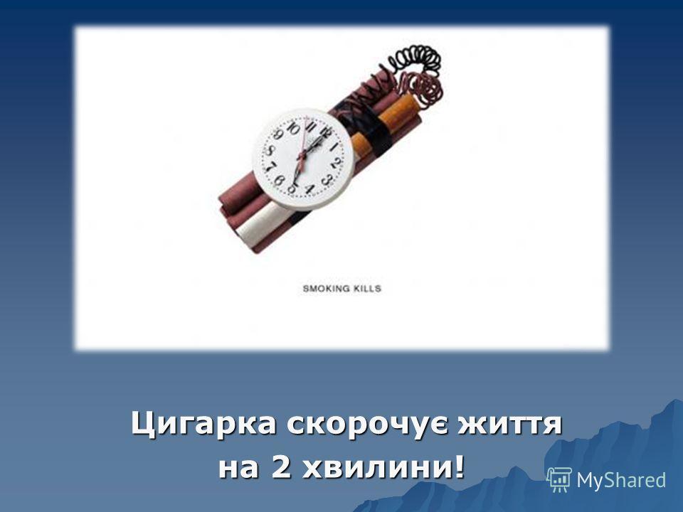 Цигарка скорочує життя Цигарка скорочує життя на 2 хвилини!