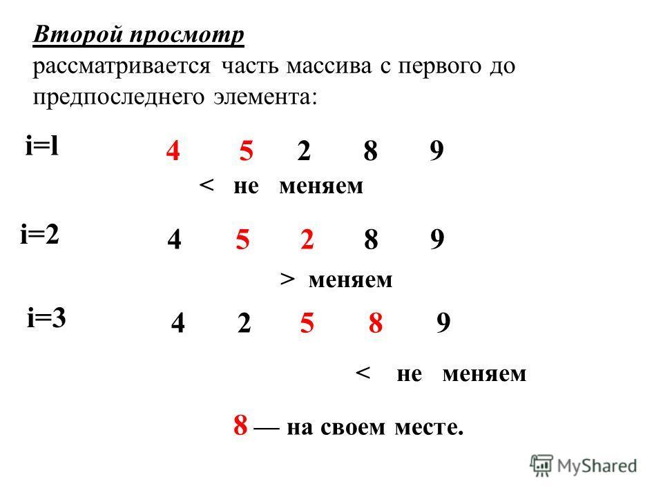8 на своем месте. Второй просмотр рассматривается часть массива с первого до предпоследнего элемента: i=li=l 452 8 9 < не меняем i=2 4528 9 > меняем i=3 4 2589 < не меняем