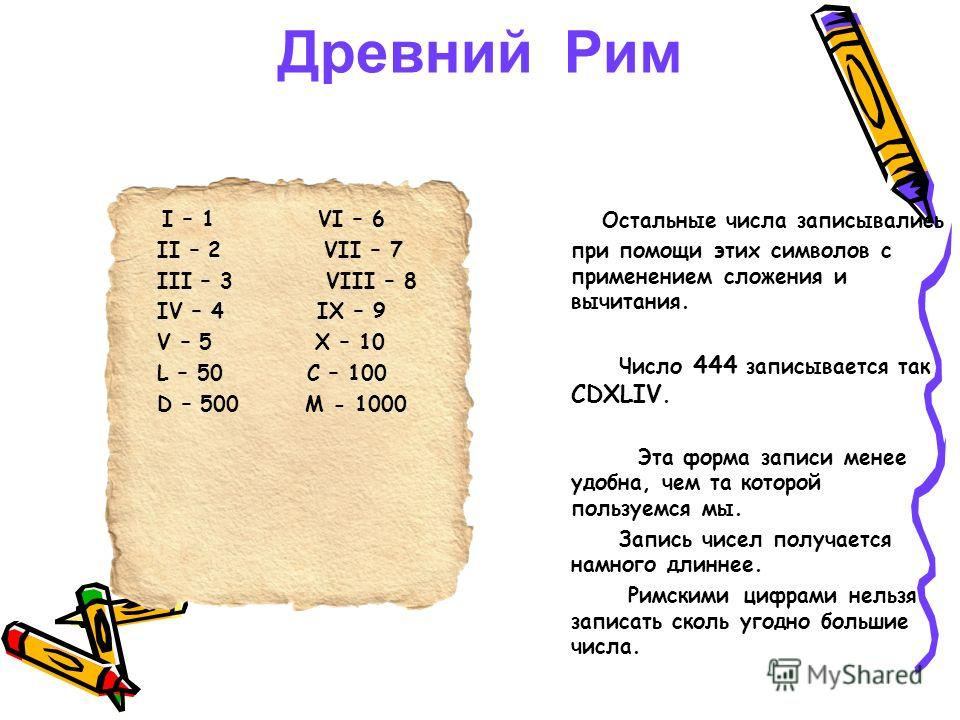 Древний Рим I – 1 VI – 6 II – 2 VII – 7 III – 3 VIII – 8 IV – 4 IX – 9 V – 5 X – 10 L – 50 C – 100 D – 500 M - 1000 Остальные числа записывались при помощи этих символов с применением сложения и вычитания. Число 444 записывается так CDXLIV. Эта форма