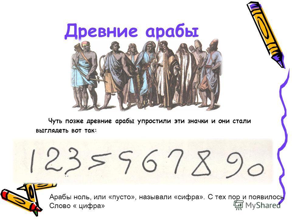 Древние арабы Чуть позже древние арабы упростили эти значки и они стали выглядеть вот так: Арабы ноль, или «пусто», называли «сифра». С тех пор и появилось Слово « цифра»