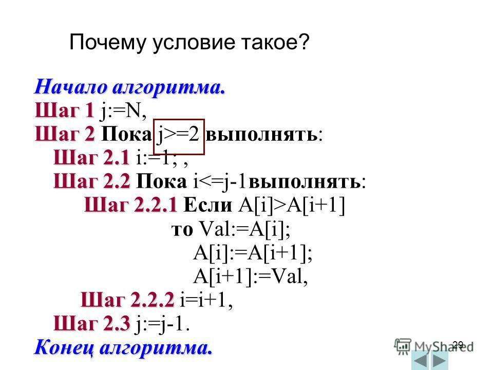 29 Начало алгоритма. Шаг 1 Шаг 1 j:=N, Шаг 2 Шаг 2 Пока j>=2 выполнять: Шаг 2.1 Шаг 2.1 i:=1;, Шаг 2.2 Шаг 2.2 Пока iA[i+1] то Val:=A[i]; A[i]:=A[i+1]; A[i+1]:=Val, Шаг 2.2.2 Шаг 2.2.2 i=i+1, Шаг 2.3 Шаг 2.3 j:=j-1. Конец алгоритма. Почему условие та