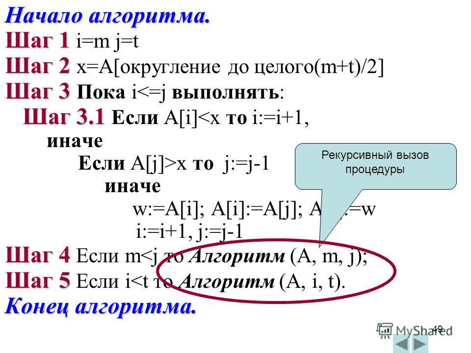 49 Начало алгоритма. Шаг 1 Шаг 1 i=m j=t Шаг 2 Шаг 2 x=A[округление до целого(m+t)/2] Шаг 3 Шаг 3 Пока i