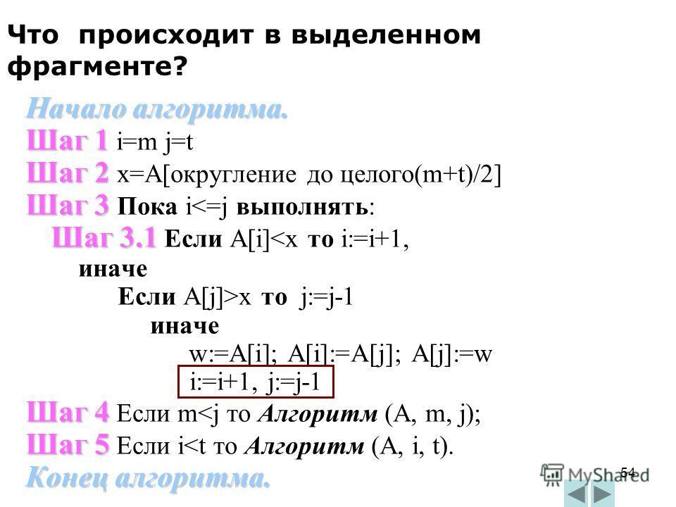 54 Начало алгоритма. Шаг 1 Шаг 1 i=m j=t Шаг 2 Шаг 2 x=A[округление до целого(m+t)/2] Шаг 3 Шаг 3 Пока i