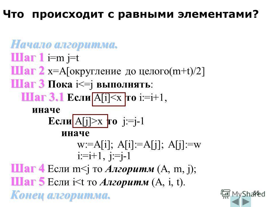 55 Начало алгоритма. Шаг 1 Шаг 1 i=m j=t Шаг 2 Шаг 2 x=A[округление до целого(m+t)/2] Шаг 3 Шаг 3 Пока i