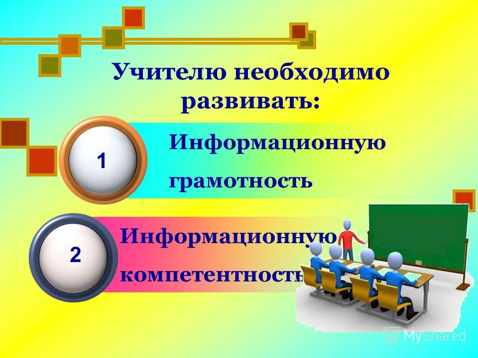 Информационную грамотность Учителю необходимо развивать: 1 Информационную компетентность 2