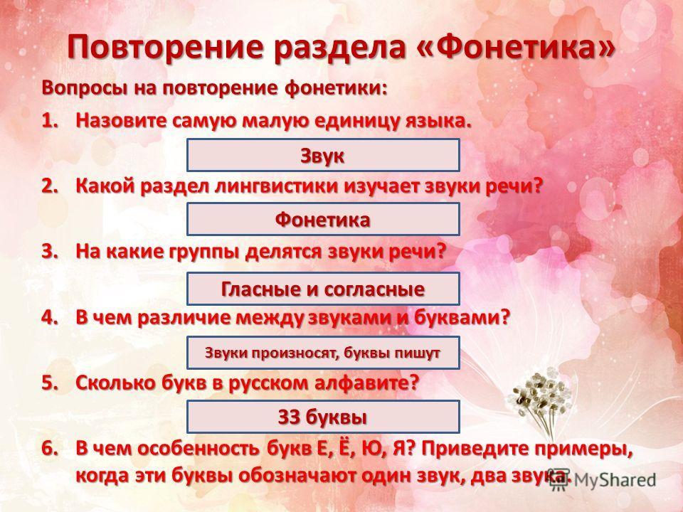 Повторение раздела «Фонетика» Вопросы на повторение фонетики: 1.Назовите самую малую единицу языка. 2.Какой раздел лингвистики изучает звуки речи? 3.На какие группы делятся звуки речи? 4.В чем различие между звуками и буквами? 5.Сколько букв в русско
