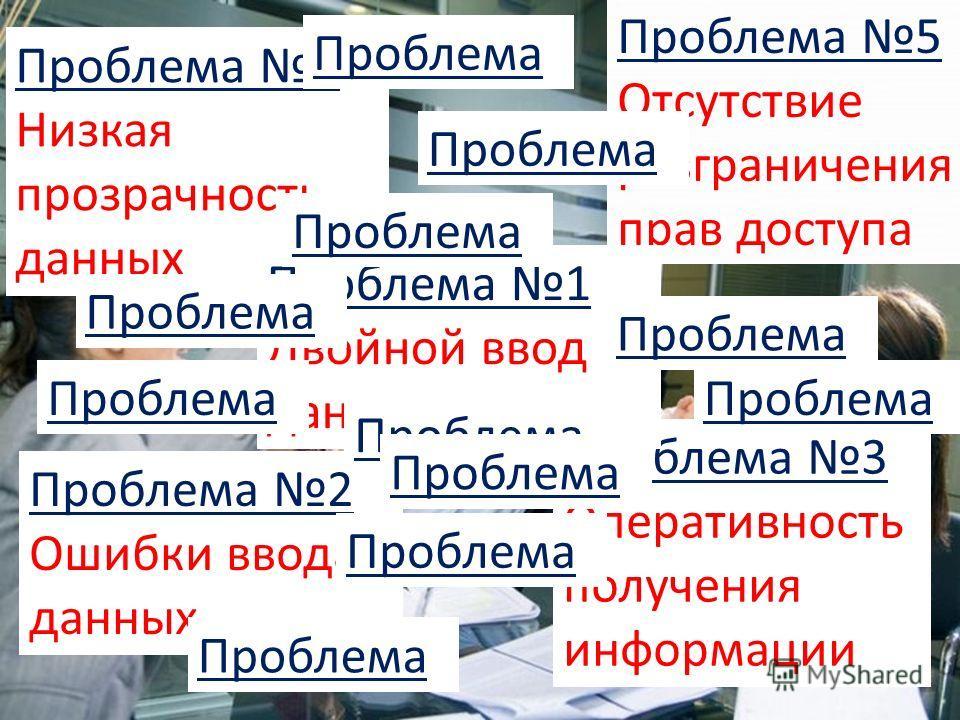 7 Проблема 5 Отсутствие разграничения прав доступа Проблема 4 Низкая прозрачность данных Проблема 3 Оперативность получения информации Проблема 2 Ошибки ввода данных Проблема 1 Двойной ввод данных Проблема
