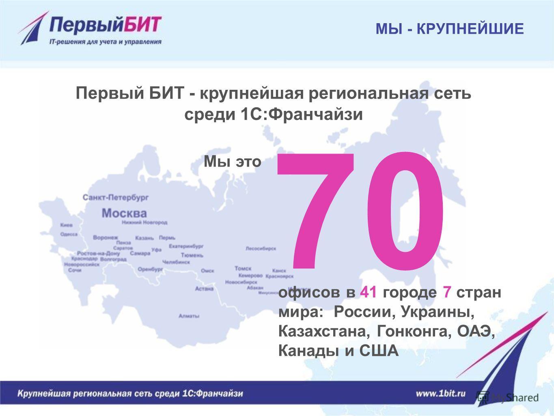 МЫ - КРУПНЕЙШИЕ офисов в 41 городе 7 стран мира: России, Украины, Казахстана, Гонконга, ОАЭ, Канады и США 70 Первый БИТ - крупнейшая региональная сеть среди 1С:Франчайзи Мы это