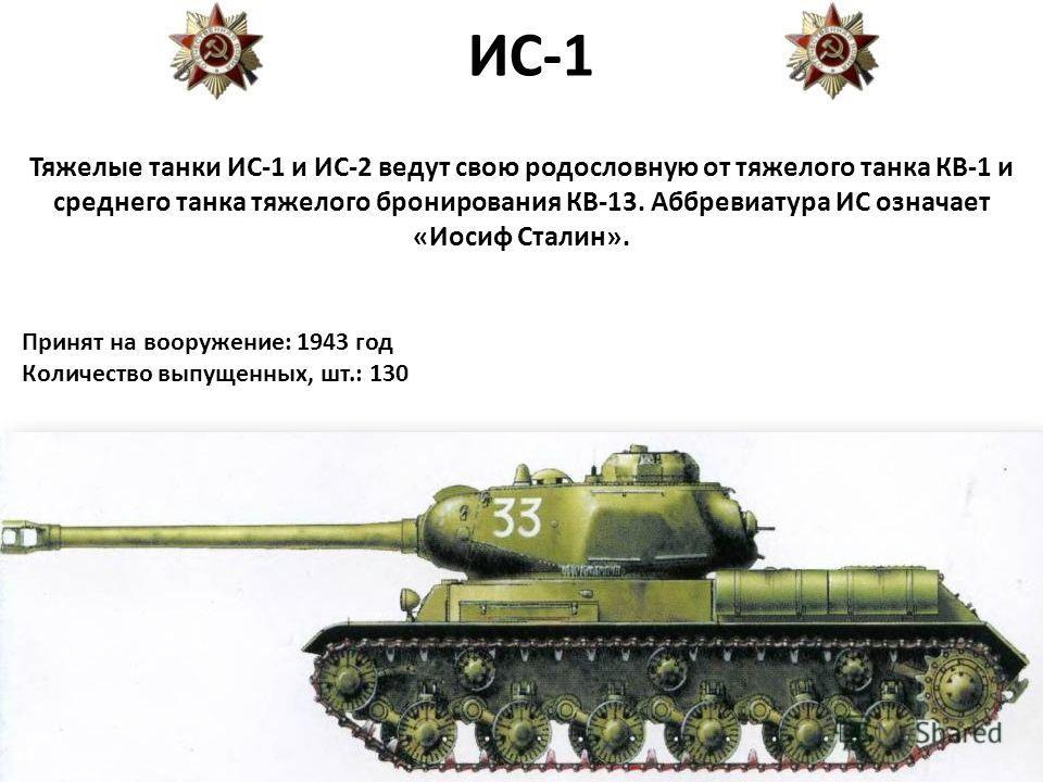 ИС-1 Тяжелые танки ИС-1 и ИС-2 ведут свою родословную от тяжелого танка КВ-1 и среднего танка тяжелого бронирования КВ-13. Аббревиатура ИС означает «Иосиф Сталин». Принят на вооружение: 1943 год Количество выпущенных, шт.: 130
