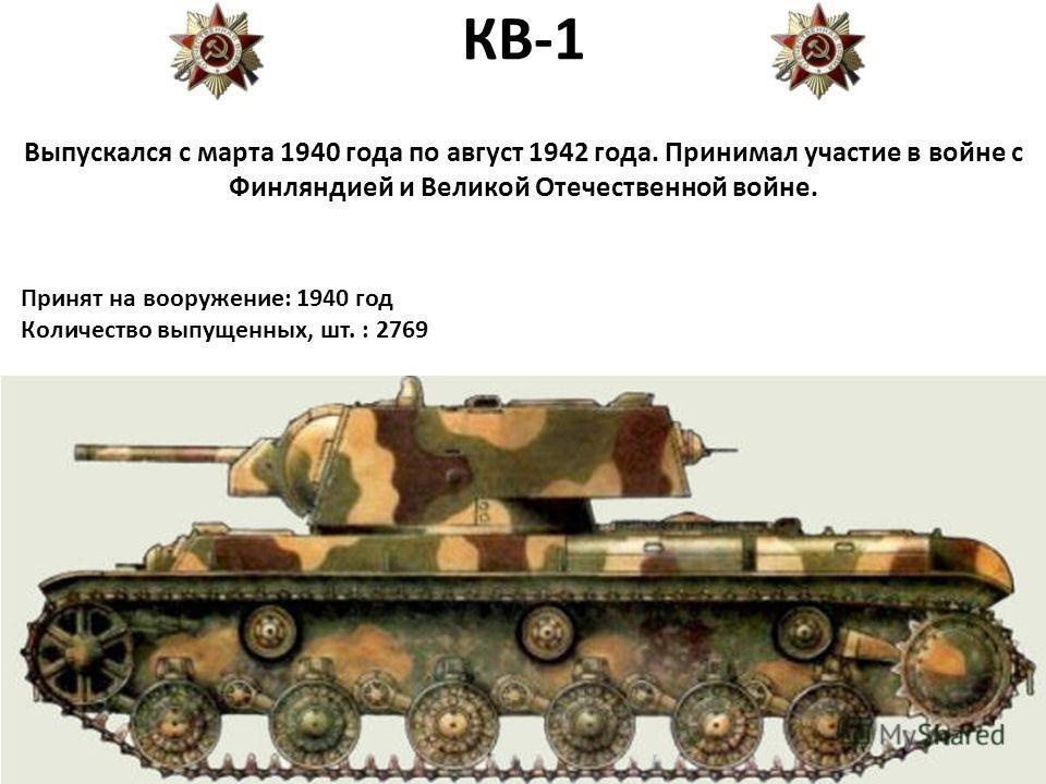 КВ-1 Выпускался с марта 1940 года по август 1942 года. Принимал участие в войне с Финляндией и Великой Отечественной войне. Принят на вооружение: 1940 год Количество выпущенных, шт. : 2769