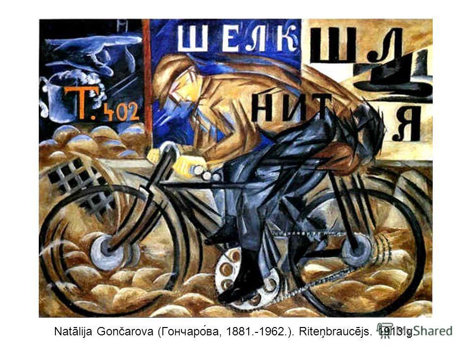 Natālija Gončarova (Гончаро́ва, 1881.-1962.). Riteņbraucējs. 1913.g.