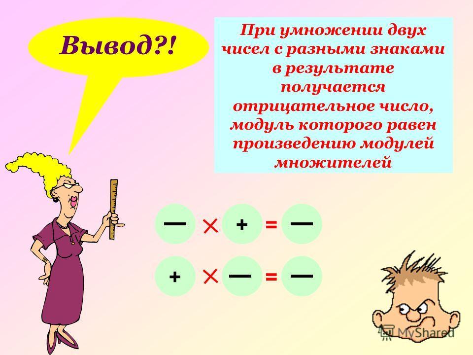 Вывод?! При умножении двух чисел с разными знаками в результате получается отрицательное число, модуль которого равен произведению модулей множителей += + =