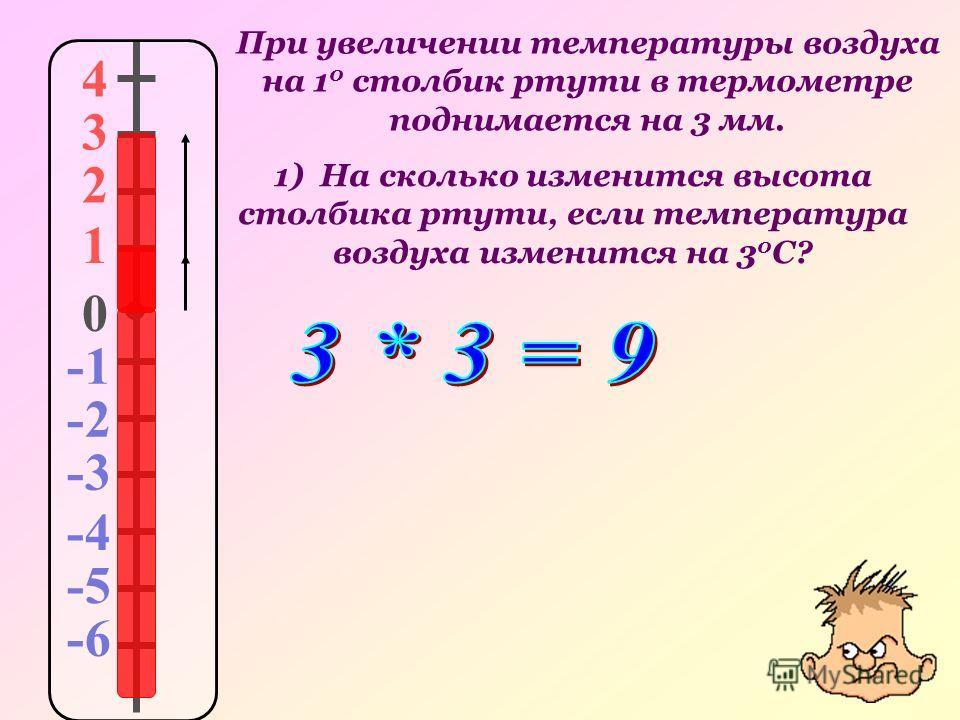 При увеличении температуры воздуха на 1 0 столбик ртути в термометре поднимается на 3 мм. 4 3 2 1 0 -2 -3 -4 -5 -6 1) На сколько изменится высота столбика ртути, если температура воздуха изменится на 3 0 С?