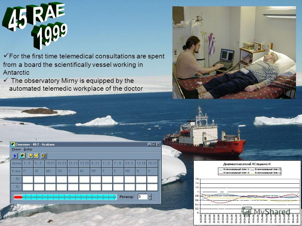 For the first time telemedical consultations are spent from a board the scientifically vessel working in Antarctic The observatory Mirny is equipped by the automated telemedic workplace of the doctor