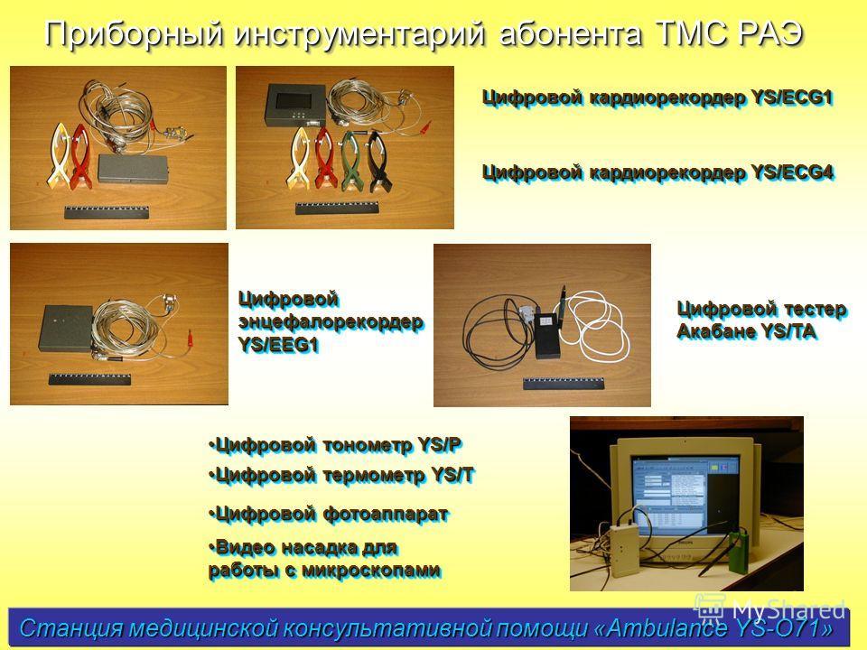 Станция медицинской консультативной помощи «Ambulance YS-O71» Приборный инструментарий абонента ТМС РАЭ Цифровой кардиорекордер YS/ECG1 Цифровой кардиорекордер YS/ECG4 Цифровой энцефалорекордер YS/EEG1 Цифровой тестер Акабане YS/TA Цифровой тонометр