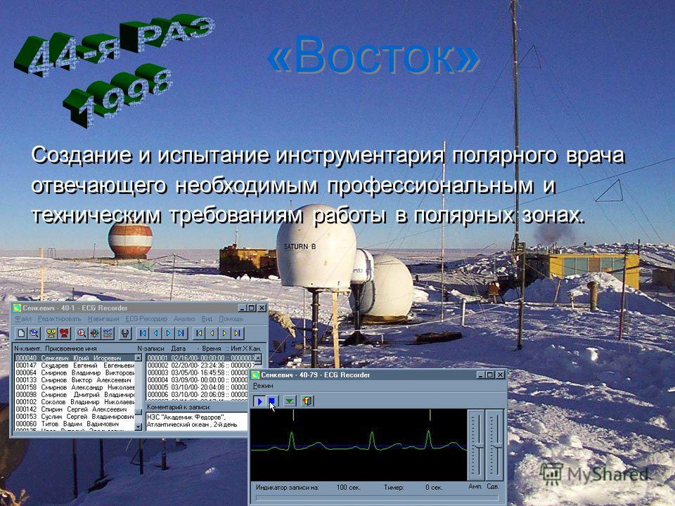 «Восток» Создание и испытание инструментария полярного врача отвечающего необходимым профессиональным и техническим требованиям работы в полярных зонах. Создание и испытание инструментария полярного врача отвечающего необходимым профессиональным и те