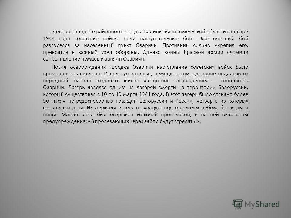 …Северо-западнее районного городка Калинковичи Гомельской области в январе 1944 года советские войска вели наступательные бои. Ожесточенный бой разгорелся за населенный пункт Озаричи. Противник сильно укрепил его, превратив в важный узел обороны. Одн