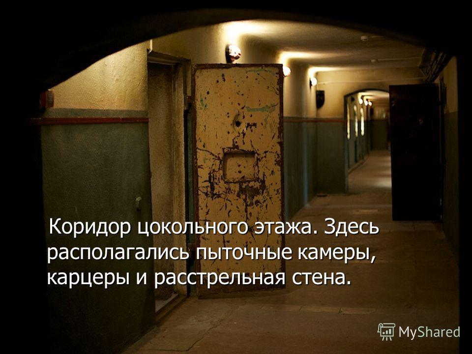 Коридор цокольного этажа. Здесь располагались пыточные камеры, карцеры и расстрельная стена. Коридор цокольного этажа. Здесь располагались пыточные камеры, карцеры и расстрельная стена.