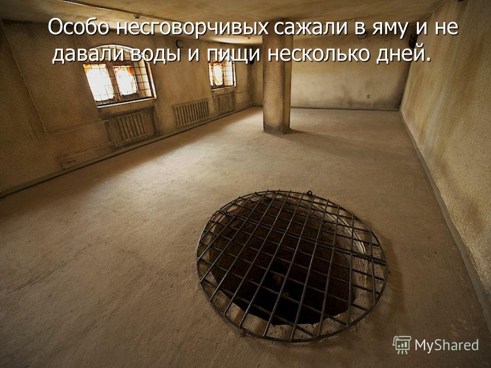 Особо несговорчивых сажали в яму и не давали воды и пищи несколько дней. Особо несговорчивых сажали в яму и не давали воды и пищи несколько дней.