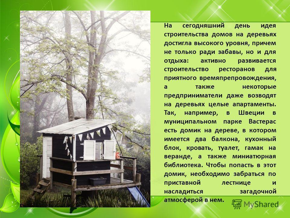 На сегодняшний день идея строительства домов на деревьях достигла высокого уровня, причем не только ради забавы, но и для отдыха: активно развивается строительство ресторанов для приятного времяпрепровождения, а также некоторые предприниматели даже в
