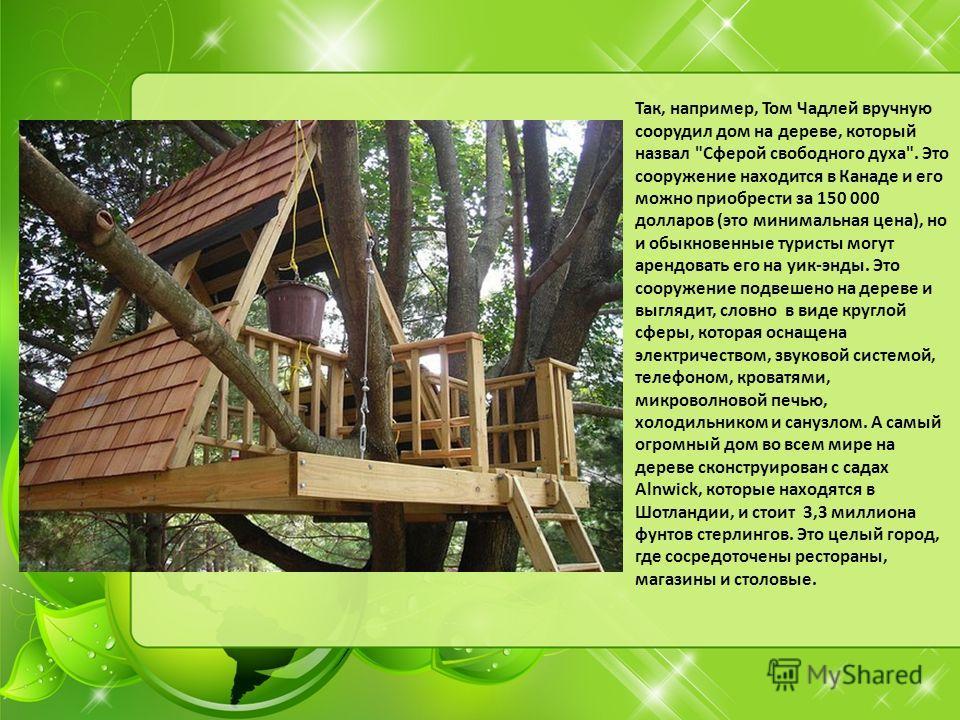 Так, например, Том Чадлей вручную соорудил дом на дереве, который назвал
