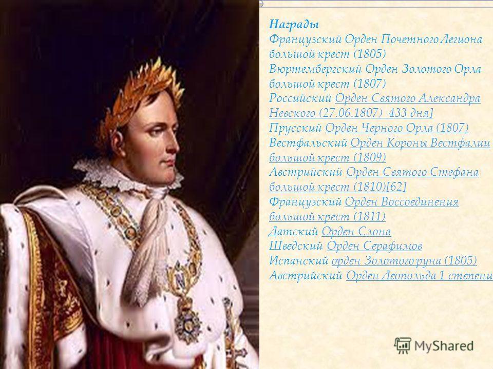 Титулы и звания генерал французской революционной армии; Первый консул Французской республики (9 ноября 1799 20 марта 1804);1799 20 марта 1804); император французов (1/ 18 мая 1804 6 апреля 1814, 2/ 12 марта 1815 22 июня 1815);18 мая 1804 6 апреля 18