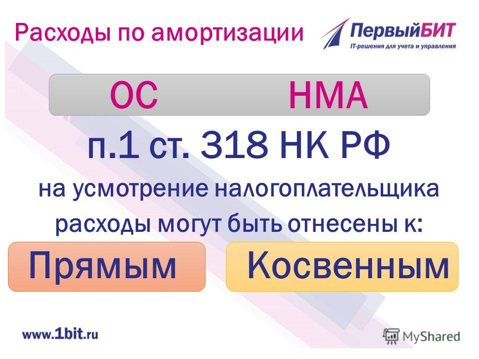 Расходы по амортизации ОС НМА п.1 ст. 318 НК РФ на усмотрение налогоплательщика расходы могут быть отнесены к: Прямым Косвенным