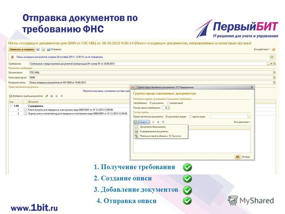 Отправка документов по требованию ФНС 2. Создание описи 4. Отправка описи 3. Добавление документов 1. Получение требования