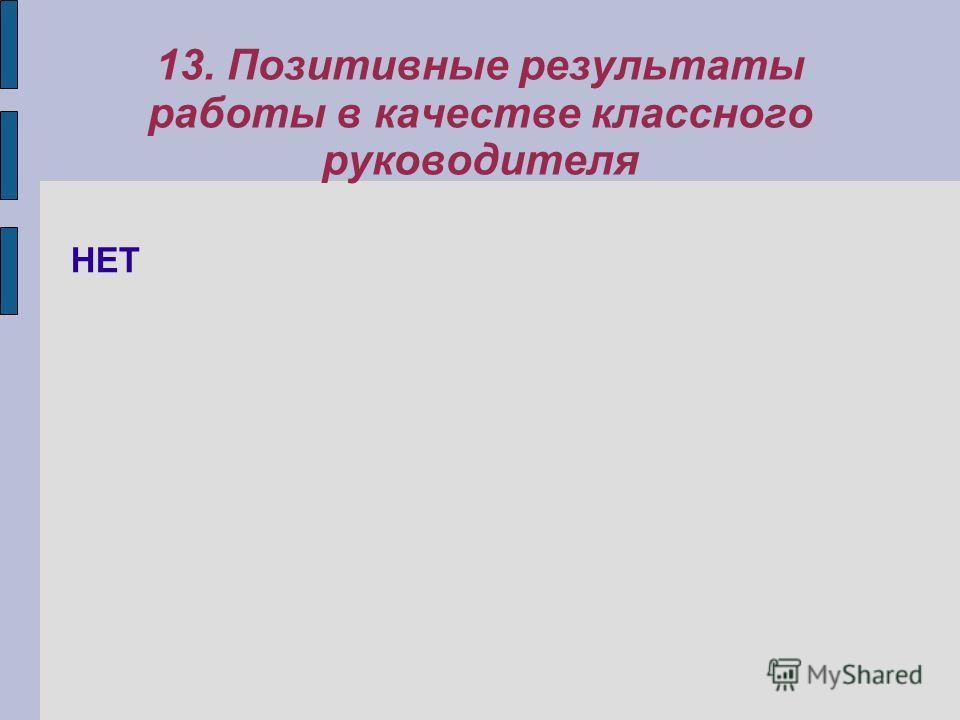 13. Позитивные результаты работы в качестве классного руководителя НЕТ